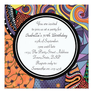 Colorful Abstract Doodle Pattern Party Invitations