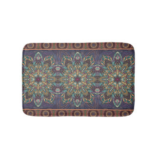Colorful abstract ethnic floral mandala pattern bath mat