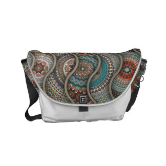 Colorful abstract ethnic floral mandala pattern courier bags