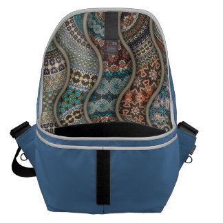 Colorful abstract ethnic floral mandala pattern messenger bags