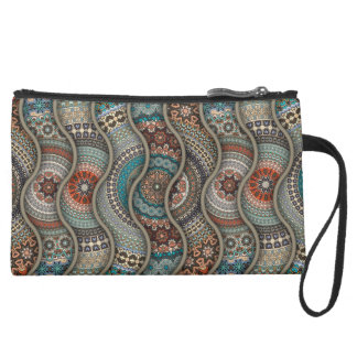 Colorful abstract ethnic floral mandala pattern wristlet clutch