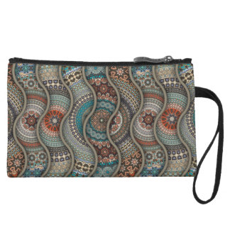 Colorful abstract ethnic floral mandala pattern wristlet clutches
