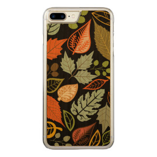 Colorful Abstract Fall Leafs Black Background Carved iPhone 8 Plus/7 Plus Case