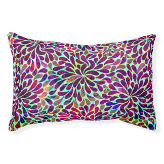 Colorful Abstract Floral Design Pet Bed