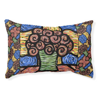 Colorful Abstract Floral Dog Bed