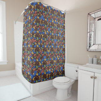 Colorful Abstract Floral Pattern Shower Curtain