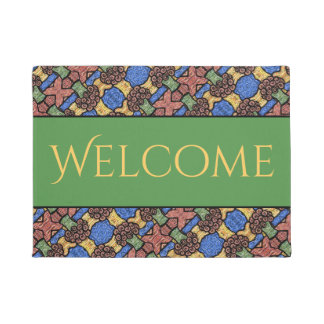 Colorful Abstract Floral Welcome Doormat
