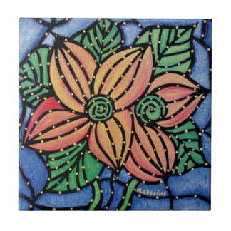 Colorful Abstract Flower Ceramic Art Tile