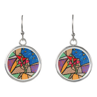 Colorful Abstract  Flower Earrings