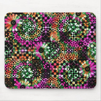 Colorful Abstract Flower Pattern Mouse Pad