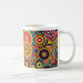 Colorful abstract flowers pattern basic white mug