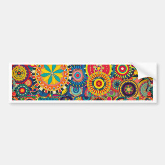 Colorful abstract flowers pattern bumper sticker