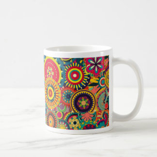 Colorful abstract flowers pattern mug