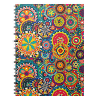 Colorful abstract flowers pattern note books