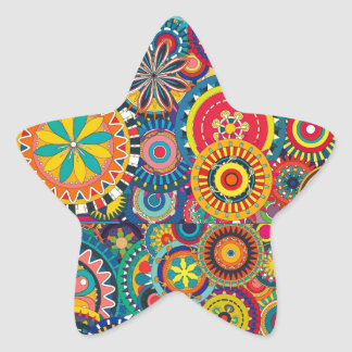 Colorful abstract flowers pattern star sticker