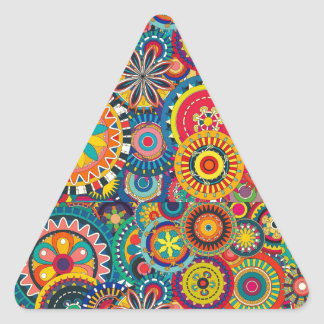 Colorful abstract flowers pattern triangle sticker