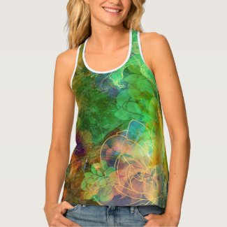 Colorful Abstract Flowers Tank Top