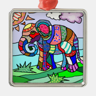 Colorful abstract folcloristic elephant painting christmas ornament