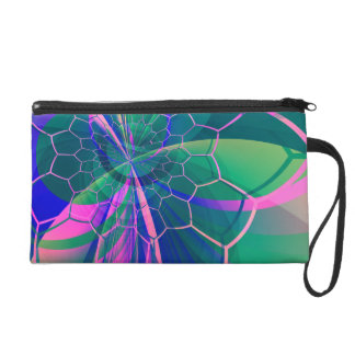 Colorful Abstract Fractal Pattern Wristlet