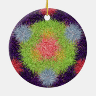 Colorful abstract furry brush pattern christmas tree ornaments