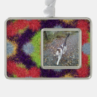 Colorful abstract furry brush pattern silver plated framed ornament