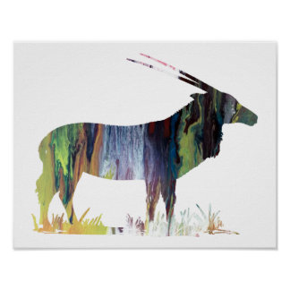 Colorful abstract  Gemsbok silhouette Poster