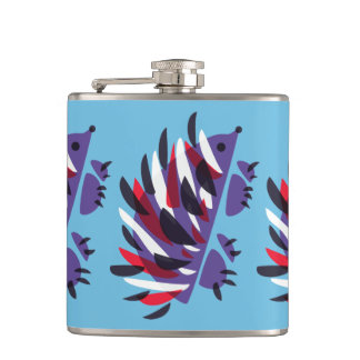 Colorful Abstract Geometric Cute Hedgehog Hip Flask