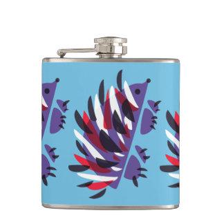 Colorful Abstract Geometric Cute Hedgehog Hip Flask