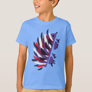 Colorful Abstract Geometric Cute Hedgehog Kids T-Shirt