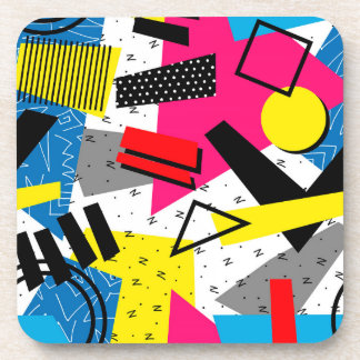 Colorful Abstract Geometric Eighties Pattern Coaster
