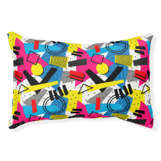 Colorful Abstract Geometric Eighties Pattern Pet Bed