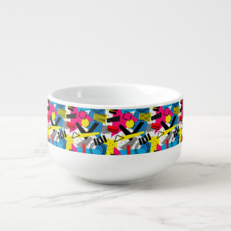 Colorful Abstract Geometric Eighties Pattern Soup Mug