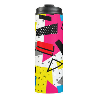 Colorful Abstract Geometric Eighties Pattern Thermal Tumbler
