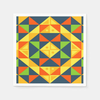 Colorful Abstract Geometric Grid Disposable Serviette