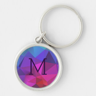 Colorful Abstract Geometric Pattern Silver-Colored Round Key Ring