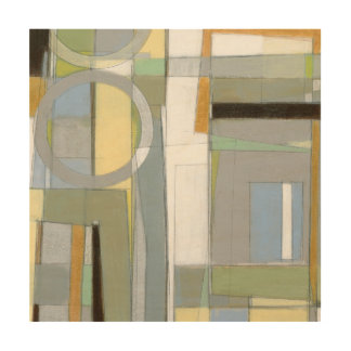 Colorful Abstract Geometric Shapes Wood Wall Art