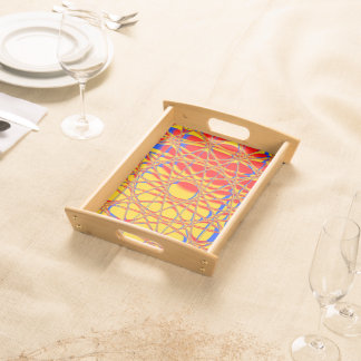 Colorful Abstract Graphic Orange And Blue Serving Tray