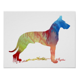 Colorful abstract  Great Dane silhouette Poster