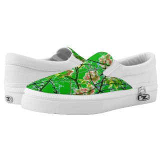 Colorful abstract green pink floral design printed shoes