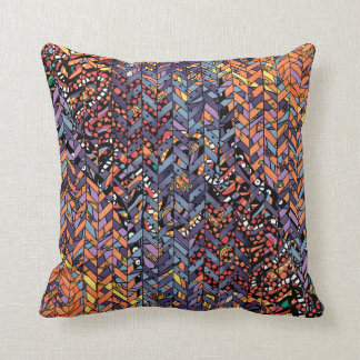 Colorful Abstract Herringbone Zig Zags Pattern Cushion
