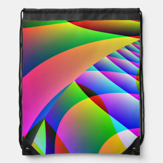 Colorful Abstract Jacobs Ladder Drawstring Bag