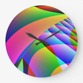 Colorful Abstract Jacobs Ladder Large Clock