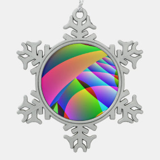 Colorful Abstract Jacobs Ladder Pewter Snowflake Decoration