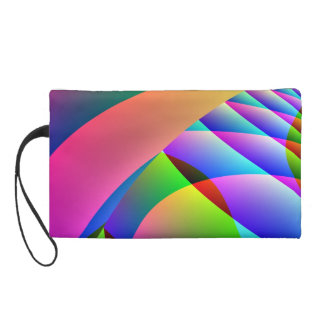 Colorful Abstract Jacobs Ladder Wristlet Clutches