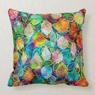 Colorful Abstract Leafs Collage Throw Pillow
