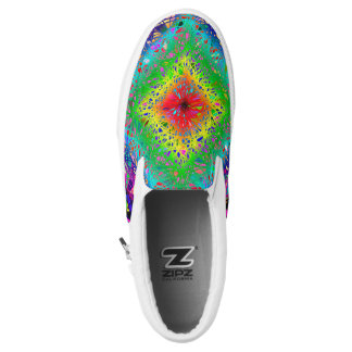 Colorful abstract leaves and crystals zipz Slip-On shoes