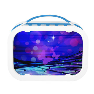 Colorful Abstract Light Rays Butterflies Bubbles Lunch Box