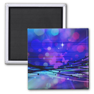 Colorful Abstract Light Rays Butterflies Bubbles Magnet