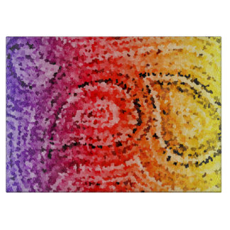Colorful Abstract Mosaic Paisley Pattern Cutting Board