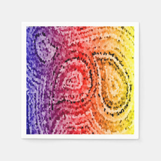 Colorful Abstract Mosaic Paisley Pattern Disposable Serviette